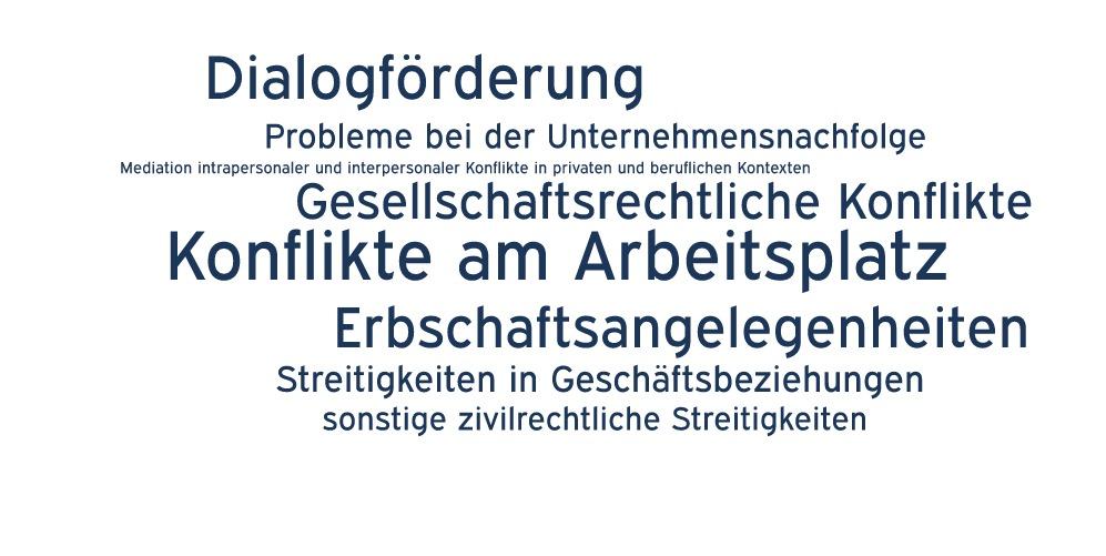Mediationsthemen: Konflikte am Arbeitsplatz, Erbschaftsangelegenheiten, Gesellschaftsrechtliche Konflikte, Probleme bei der Unternehmensnachfolge, Streitigkeiten in Geschäftsbeziehungen, sonstige zivilrechtliche Streitigkeiten, Mediation intrapersonaler und interpersonaler Konflikte in, privaten und beruflichen Kontexten, Dialogförderung